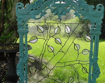 Large Stained Glass with Antique Frame