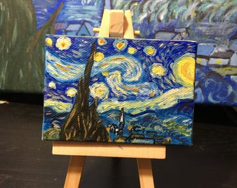 Starry Night Mini Painting with easel