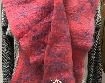 Handmade wet felted scarf