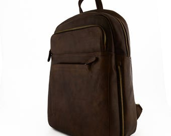 Genuine Leather Man Backpack with laptop padded pocket