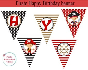Pirate Banner, Pirate Birthday Decoration, Pirate Party, Printable PDF, Instant Download