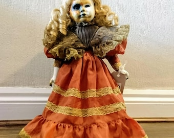 Hand Painted Horror Art Porcelain Doll Standing Victorian Style