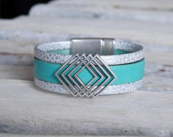 Geometric chic bohemian cuff leather turquoise and silver (BR107) bracelet