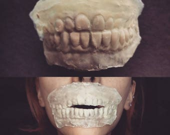 Makeup Zombie Skull Teeth Cosplay DIY face patch latex Exposed Teeth SFX Prosthetic The Walking Dead