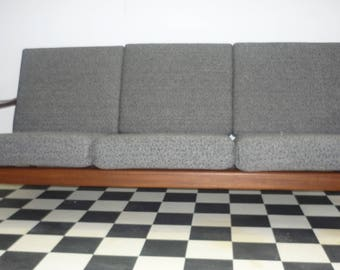 Teak 3 seat couch Danish style with grey upholstery