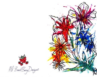 Ink Splat Flower Cards