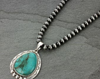 NWT* Natural Turquoise Pendant 10 mm Western Pearl Necklace Pendant