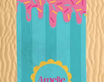 Personalized Popsicle Summer Beach Towel - Colorful Monogram Sprinkles and Popsicle Printed 30x60 Beach Towel