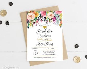 Graduation Invitation, Graduation Party Invite, Floral Graduation Invitation, PERSONALIZED, Digital file, #G02