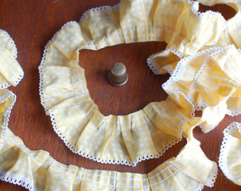 Yellow gingham elastic ruffled trim with lace picot trim, cotton fabric pleated trim garland 40mm width - Sold by the metre