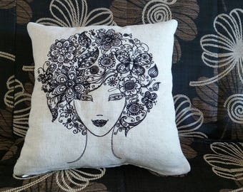 Decorative pillow, Decorated pillow embroidery, 100% Flax Linen pillow embroidery spring lady