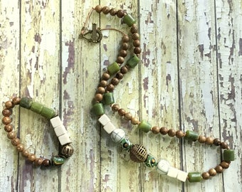 Long Afrocentric Jade, Wood, and Ghanaian Brass Necklace and Bracelet