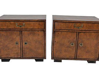 Widdicomb burled cabinets/nightstands (pair)