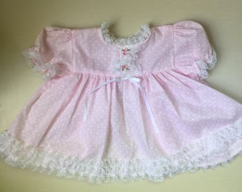 Pink vintage 1980s lace and polka dots Baby girl dress 12 month
