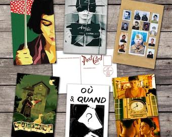 Amelie set 6 postcards | audrey tautou | amelie poulain | garden gnome | amélie poulain | amelie poster | jean-pierre jeunet poulain |
