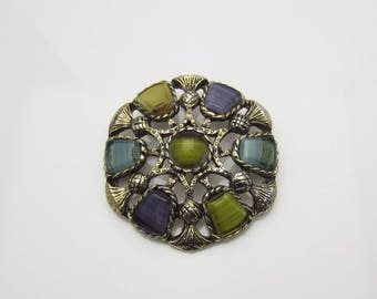 Vintage Costume Jewellery Sphinx Art Glass Agate Brooch Pin Round Scottish Thistle Design Marked 2247 1960s Miracle Inspired
