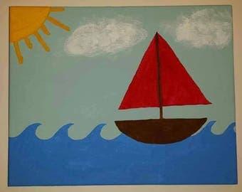 Children's Sailboat Painting