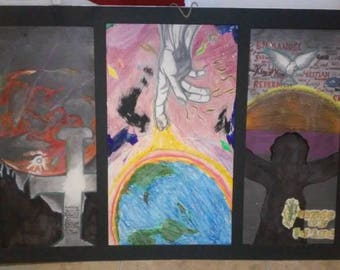 Religious/Christian art with 3 pieces on a matted board