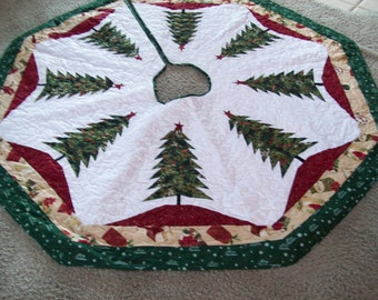 """64"""" Larger - Christmas Tree Skirt, Quilted, Reversible #9L"""