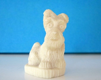 vintage salt clay sculpture . small vintage carved dog figure . scottie or schnauzer . miniature schnauzer dog statue