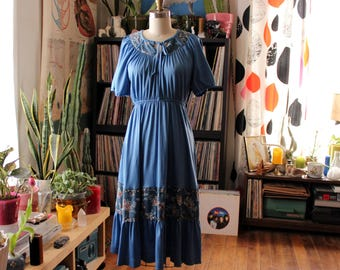 blue vintage 1970s peasant dress with ruffled skirt . womens small medium . AS IS SALE