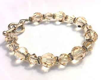 Swarovski Peach Crystal Bracelet with Silver Toggle Clasp