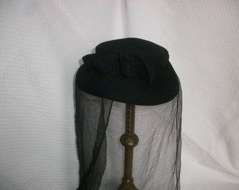 Vintage French Hat & Veil c1950 ~ Black silk voile ~ Chic Goth Widow Steampunk Costume