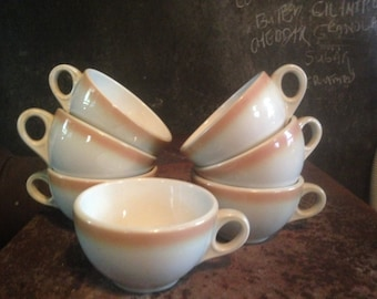 Shenango Teacups Coffee Cups Seven Piece Set Vintage Heavy Restaurant China 1960s White Stripe Beige Tan