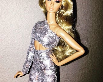 """OOAK Silver Sequin dress for FR2, Barbie and other 12"""" dolls"""