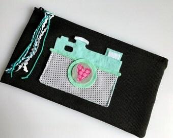 Camera Love Zippered Pouch - Aqua // Clutch // Gift // Stocking Stuffer