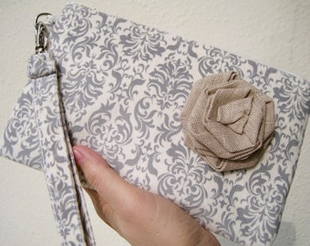 Wedding Clutch 2 pockets,medium,grey,corduroy,damask,discount plan set, wristlet, cotton - Damask grey