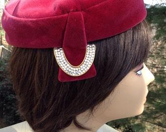 Vintage Merlot Velvet Pillbox Hat Mr John