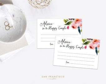 Advice for the Happy Couple - Couples Shower - Bridal Shower - Advice Cards - Watercolor Floral - ELISE - Instant Download PDF File