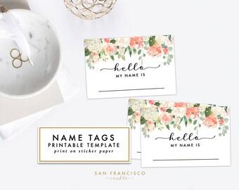 Elegant Printable Floral Name Tag   Bridal Shower, Baby Shower, Rehearsal Dinner, Name  Tag
