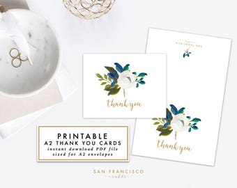 Printable Floral Thank You Cards | A2 Bridal or Baby Shower Thank You Cards, Blue - Diana Collection - INSTANT DOWNLOAD PDF File