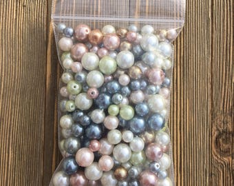 Pastel Glass Pearl Round Beads
