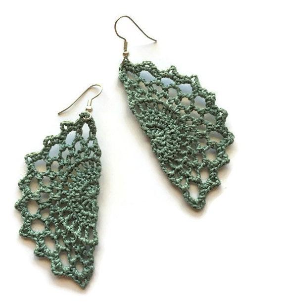 Boho Chic Crochet Statement Earrings Bohemian Gypsy Hippie Earrings Jewelry Gift for Her Vintage Lace Filigree -Handmade Lace in Sagebrush