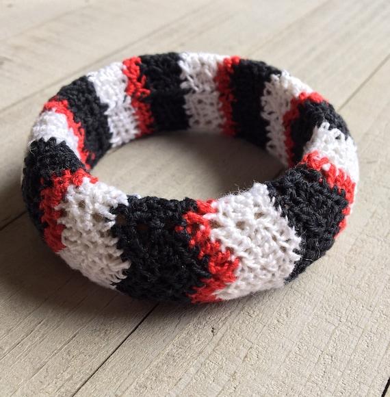 Boho Crochet Bangle Bracelet Wide Chunky Stack Bracelet Hippie Gypsy Gift for Her Mothers Day Birthday Gift Red White & Black Chevron Stripe