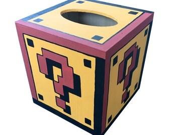 Mystery Block Tissue Box Mario Hand Painted Nintendo Geekery 8 Bit Video Game Arcade Dad Grad Gift