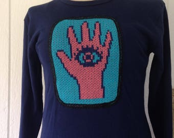 Large Long sleeve T shirt with Hamsa application, navy tee with cotton knit Evil Eye protection trimmed with black lace, gift for women,