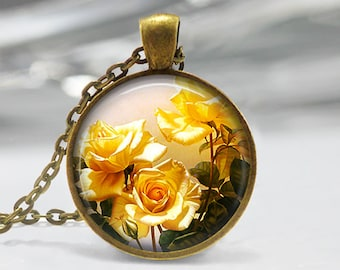Jewelry yellow etsy yellow rose pendant rose art pendant rose jewelry yellow roses pendant rose mozeypictures Images