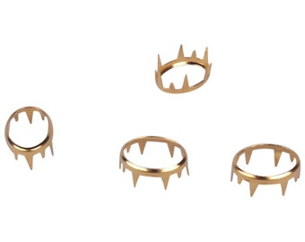Gold Oval Open Metal Studs - 15mm - 25 Pieces (MOS15GOO-25)