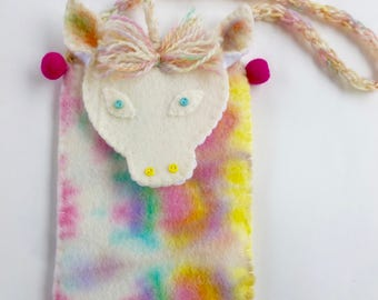 Unicorn pouch hand dyed wool felt Waldorf inspired ready to ship