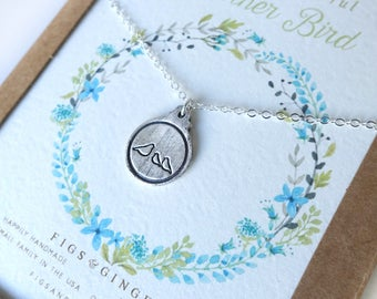 Mother Bird & Two Baby Charm Necklace Mother's Day Gift