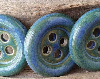 Ceramic Buttons, Clay buttons, Handmade Buttons, Blue Buttons, Ceramic Pendants, Button Pendants,Button Charms