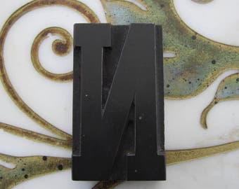 Letter N Antique Letterpress Wood Type Printers Block