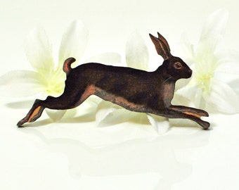 Brown Rabbit Brooch Easter - Rabbit Jewelry - Bunny Rabbit Pin - Bunny Brooch - Animal Brooch - Pet Bunny Rabbit - Rabbit Pin -Bunny Jewelry