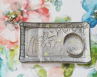 Jewelry holder tray - ceramic trinket dish - handmade pottery rustic modern brown white neon flower texture