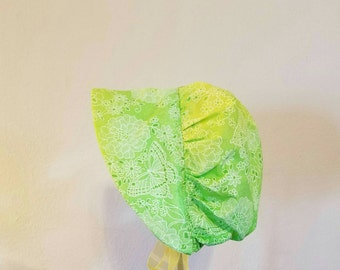 Size 3 to 6 Months Baby Girls Sun Bonnet, Green and Yellow