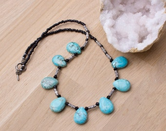 Turquoise Teardrop necklace | gemstone drops | blue gem necklace | Turquoise jewellery | Stone statement necklace | Ethnic beaded necklace